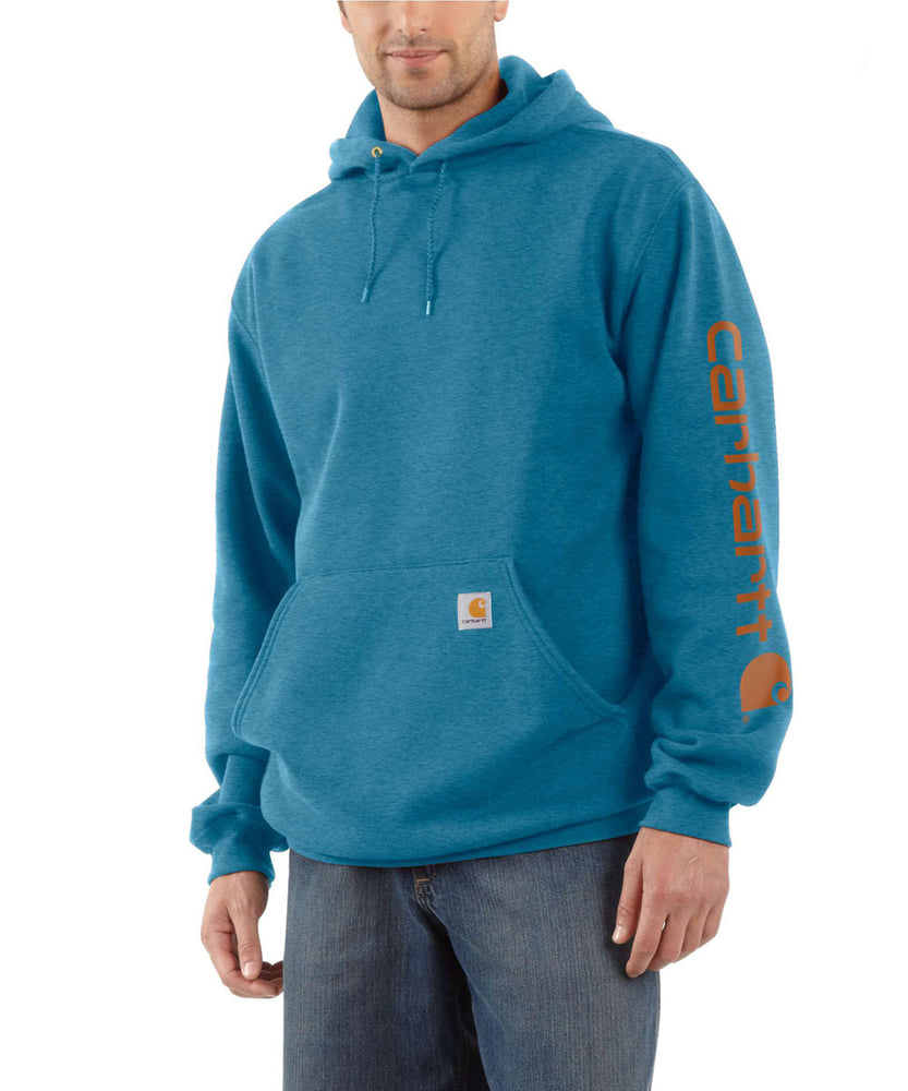 Carhartt Mid-weight Hooded Logo Sweatshirt - Ocean Blue Heather