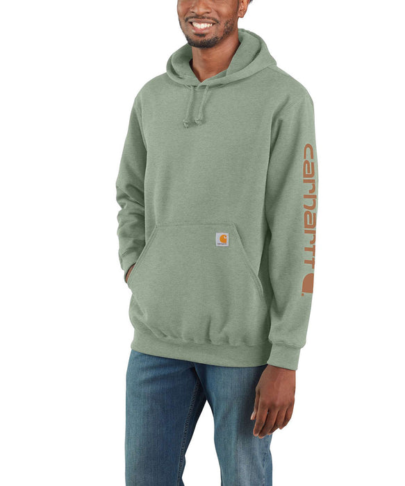 Carhartt Midweight Logo Hooded Sweatshirt - Leaf Green Heather at Dave's New York