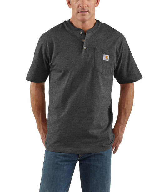 Carhartt K84 Workwear Short Sleeve Henley T-Shirt in Carbon Heather at Dave's New York