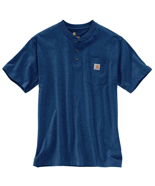 Carhartt K84 Workwear SS Henley T-Shirt - Dark Cobalt Blue Heather