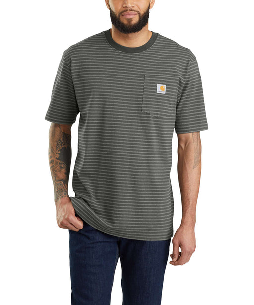 Carhartt K87 Workwear Pocket T-Shirt - Peat Stripe