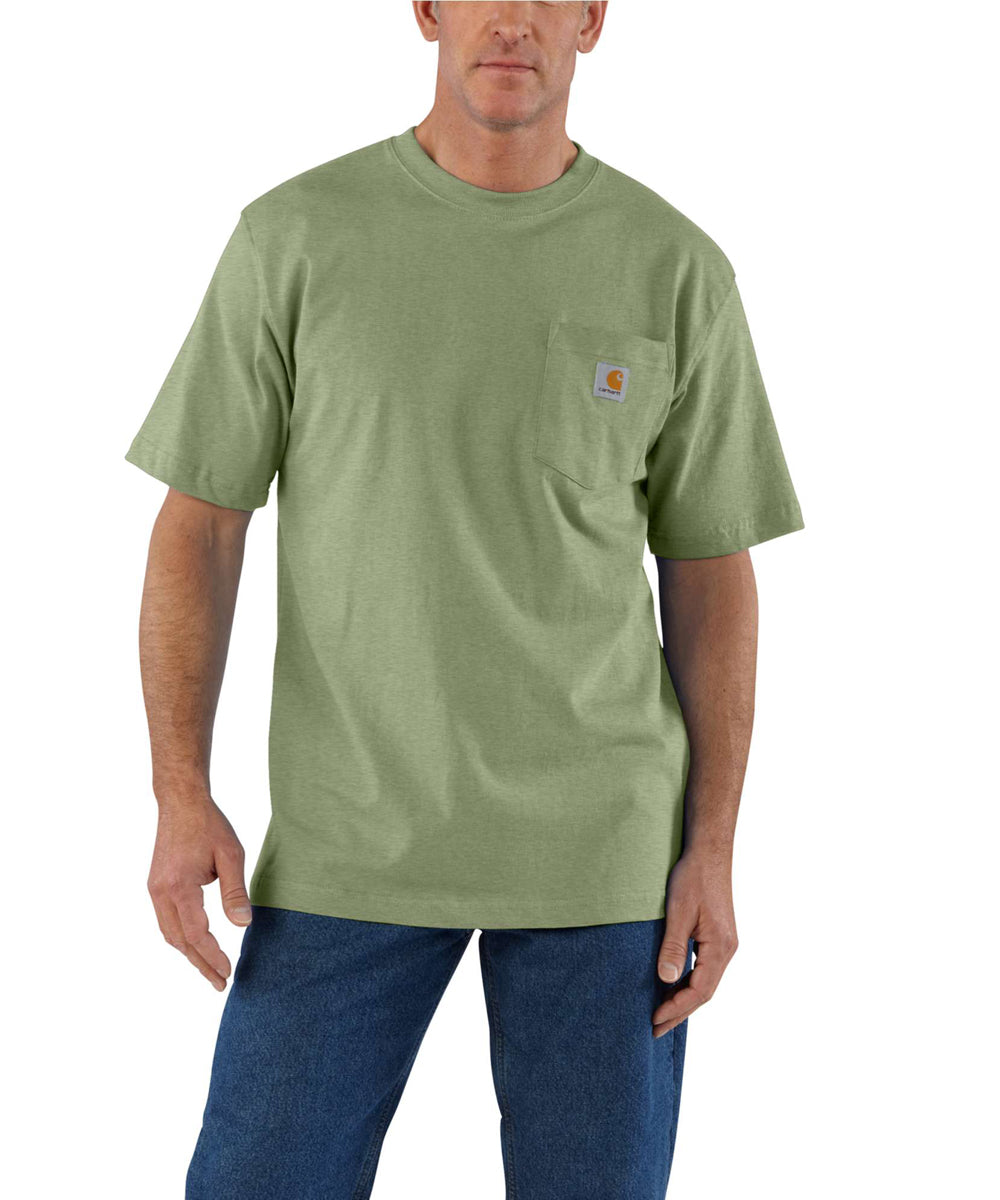 lowest price new images of discount Carhartt K87 Workwear Pocket T-Shirt - Oil Green Heather