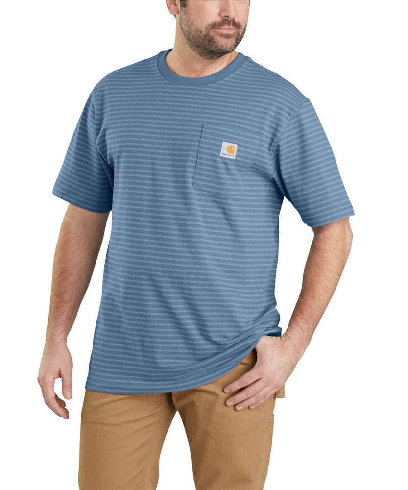 Carhartt K87 Workwear Pocket T-Shirt - Steel Blue Stripe