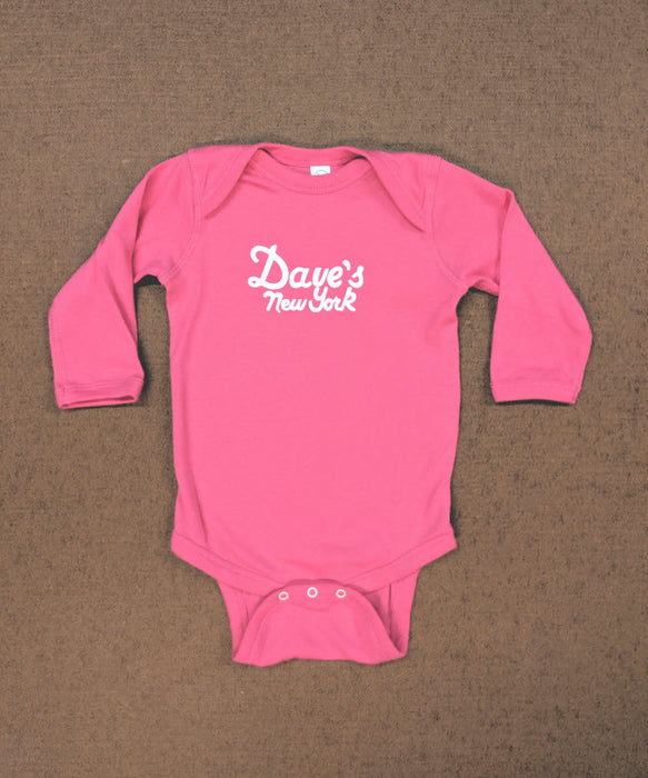 Dave's New York Logo Long Sleeve Infant Bodysuit in Hot Pink