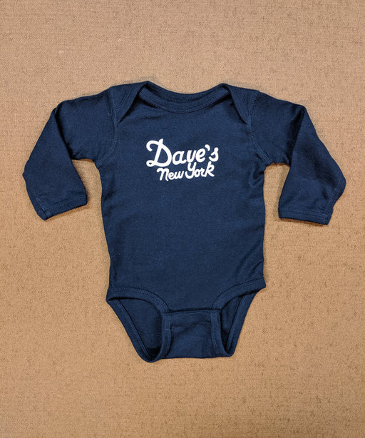 Dave's New York Logo Long Sleeve Infant Bodysuit in Navy