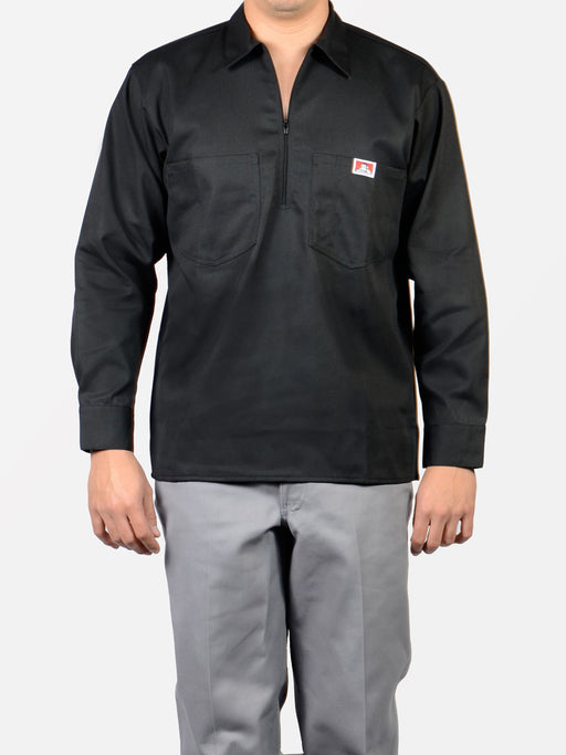 Ben Davis Long Sleeve Half-Zip Work Shirt in Black at Dave's New York