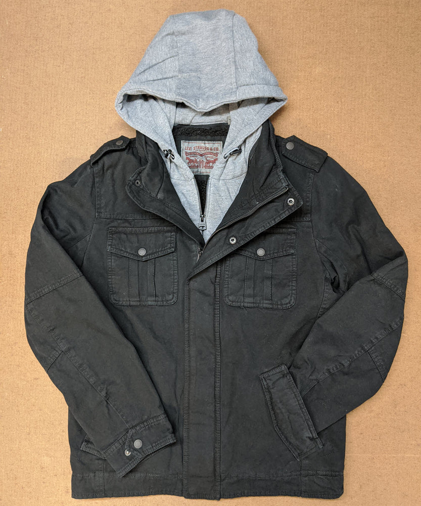Levi's Men's Military Style Hooded Jacket - Black