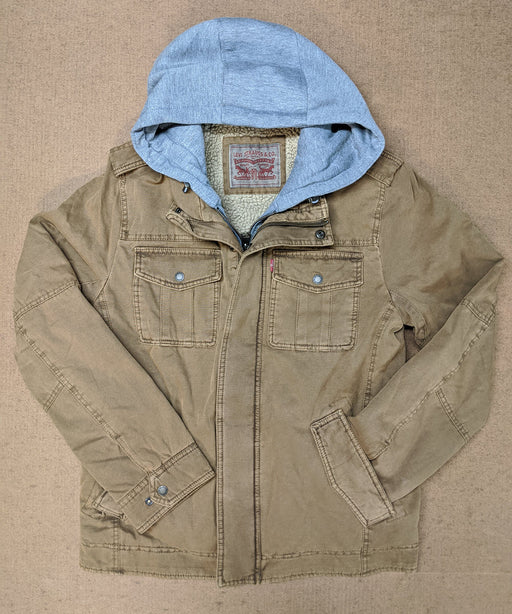 Levi's Men's Military Style Hoodied Jacket in Brown at Dave's New York