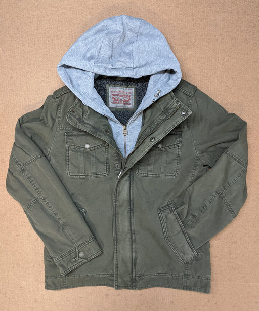 Levi's Men's Military Style Hooded Jacket - Olive Green