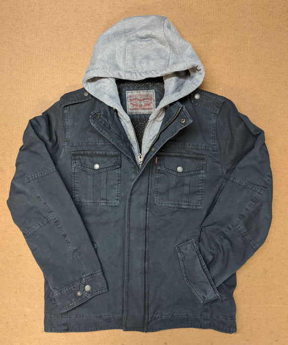 Levi's Men's Military Style Hoodied Jacket in Navy at Dave's New York