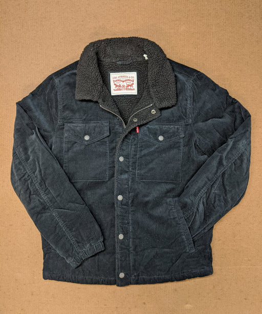 Levi's Men's Corduroy Sherpa Trucker Jacket in Black at Dave's New York