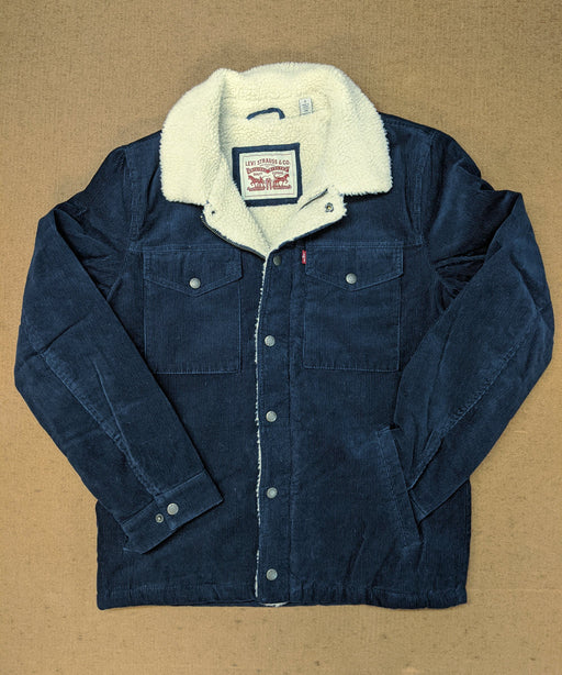 Levi's Men's Corduroy Sherpa Trucker Jacket in Navy at Dave's New York