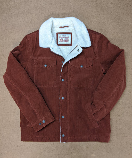 Levi's Men's Corduroy Sherpa Trucker Jacket in Rust at Dave's New York
