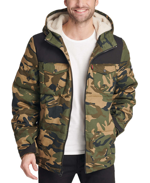 Levi's Men's Quilted Puffer Jacket - Camo/Black