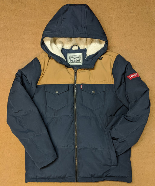 Levi's Men's Quilted Puffer Jacket in Navy/Tan at Dave's New York