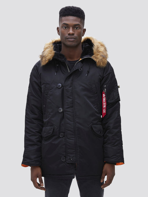 Alpha Industries Slim Fit N-3B Parka in Black at Dave's New York