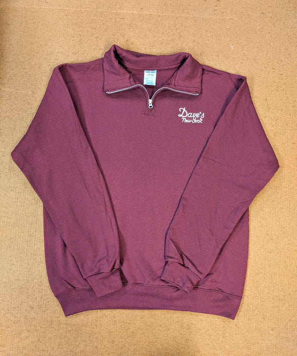 Dave's New York Men's Vintage Logo Half-Zip Sweatshirt - Maroon