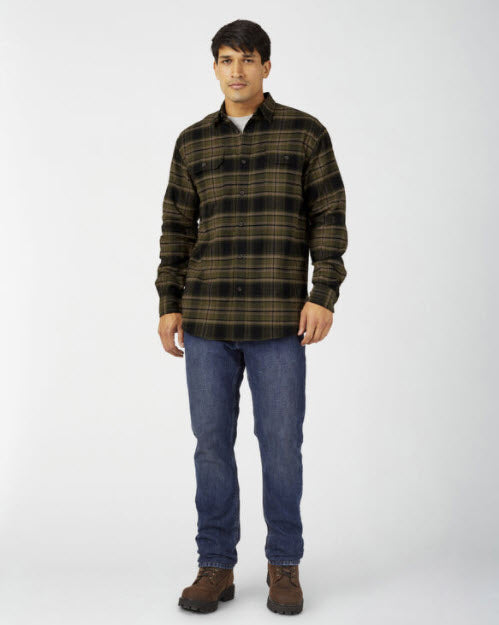 Dickies Men's FLEX Long Sleeve Flannel Shirt in Military Green Black Plaid at Dave's New York