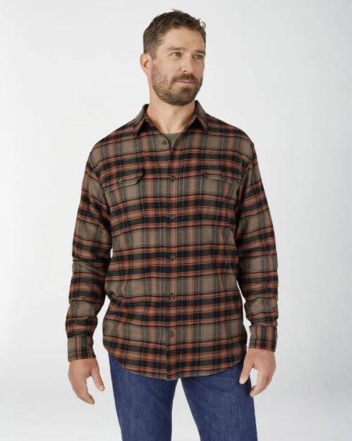 Dickies Men's FLEX Long Sleeve Flannel Shirt in Mushroom Auburn Plaid at Dave's New York