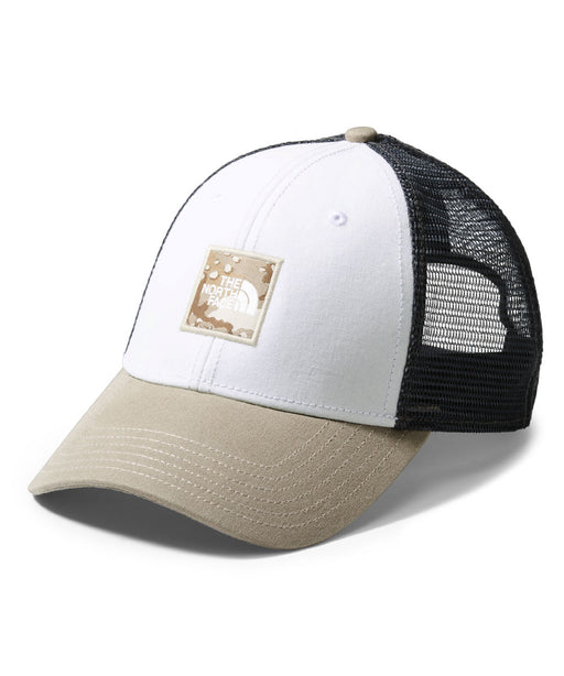 TNF Box Logo Trucker Cap - TNF White/Moab Khaki Woodchip Camo Desert Print at Dave's New York