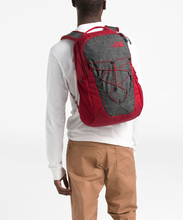 The North Face Jester Backpack - TNF Dark Grey Heather/Cardinal Red