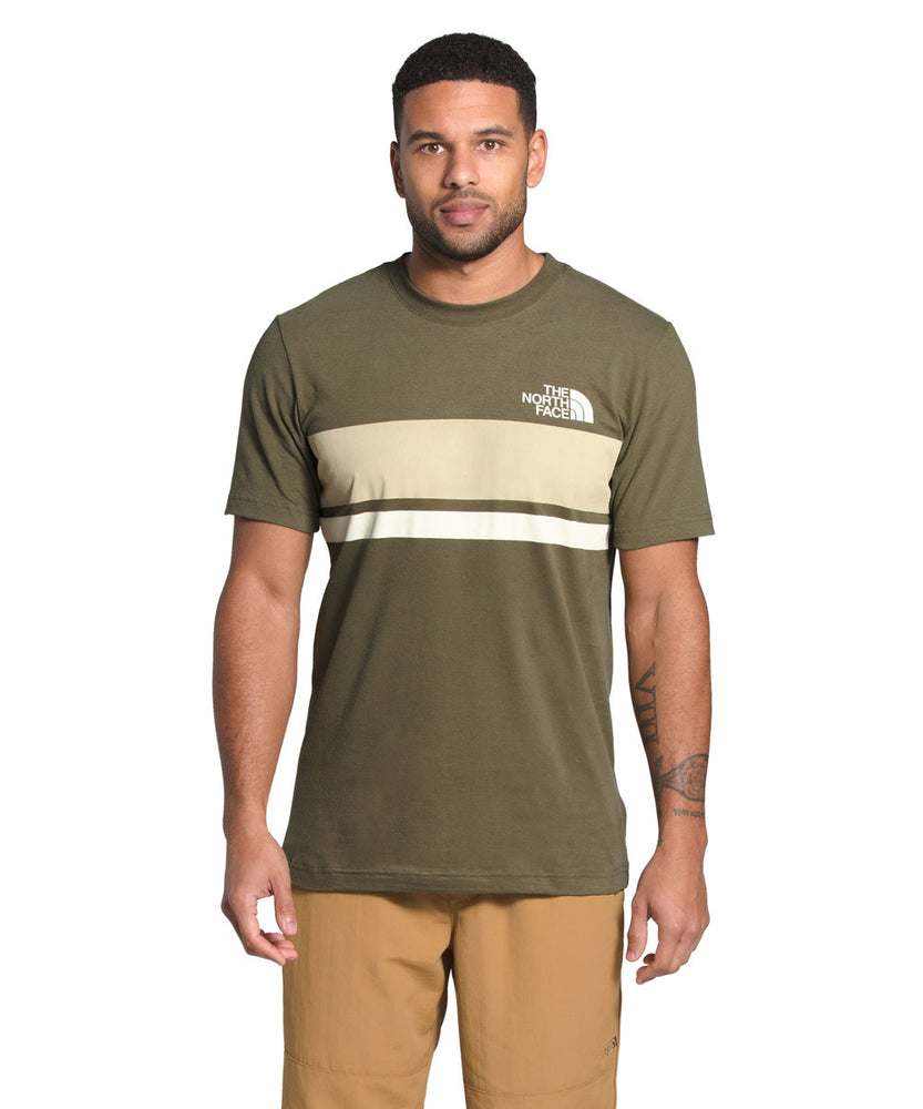 The North Face Men's Short Sleeve Horizontal Lines T-shirt in Burnt Olive Green at Dave's New York
