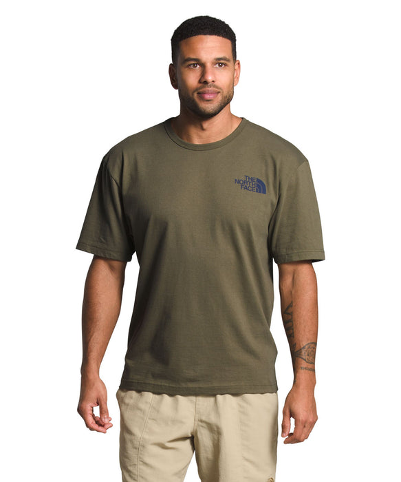The North Face Men's Short Sleeve Tonal Bars T-shirt in Burnt Olive Green at Dave's New York