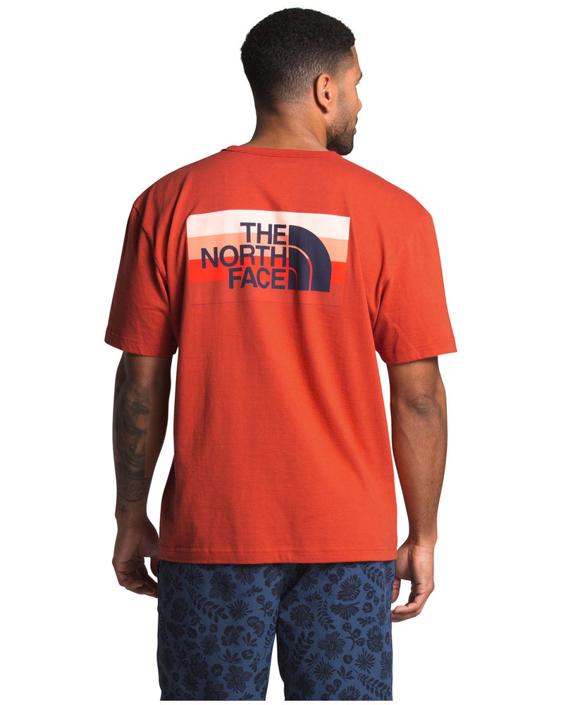 The North Face Men's Short Sleeve Tonal Bars T-shirt in Mango Orange at Dave's New York