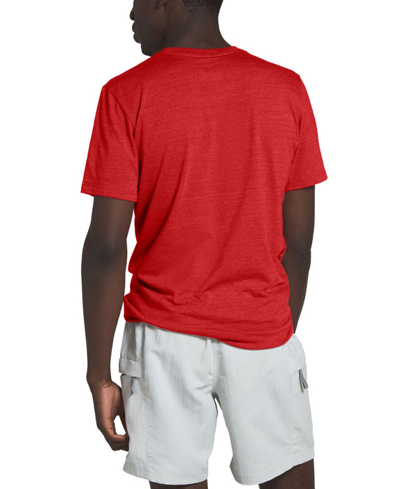 The North Face Men's Short Sleeve Logo Marks Tri-Blend T-shirt in Pompeian Red Heather at Dave's New York