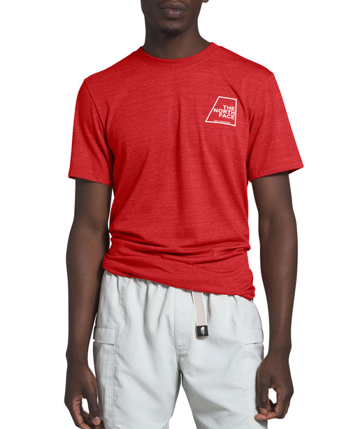 The North Face Men's Short Sleeve Logo Marks Tri-Blend Tee - Pompeian Red Heather