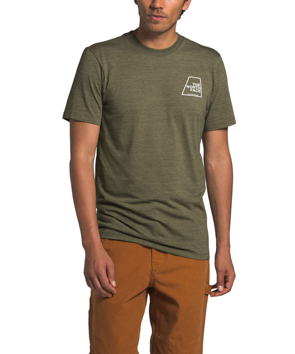 The North Face Men's Short Sleeve Logo Marks Tri-Blend T-shirt in Burnt Olive Heather at Dave's New York