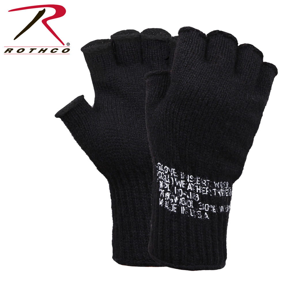 Rothco Military Fingerless Wool Gloves in Black at Dave's New York