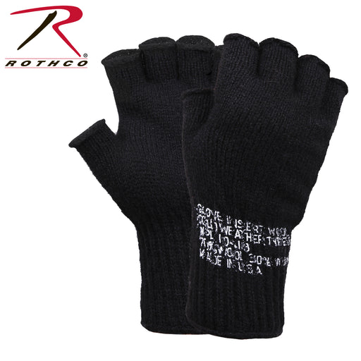 Rothco Military Fingerless Wool Gloves – Black