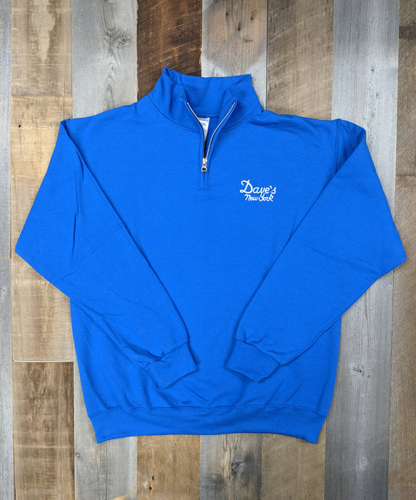 Dave's New York Vintage Logo Half-Zip Sweatshirt - Royal Blue