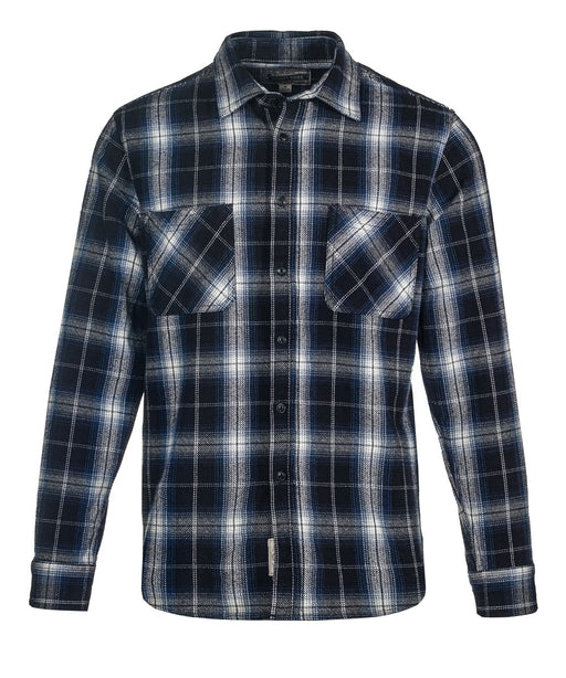 Schott NYC Plaid Flannel Shirt in Navy at Dave's New York