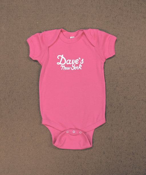 Dave's New York Logo Short Sleeve Infant Bodysuit in Hot Pink