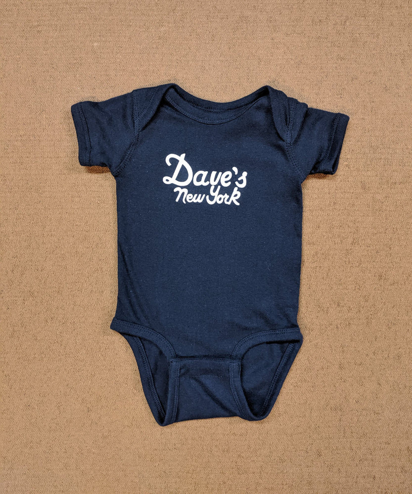 Dave's New York Logo Short Sleeve Infant Bodysuit in Navy