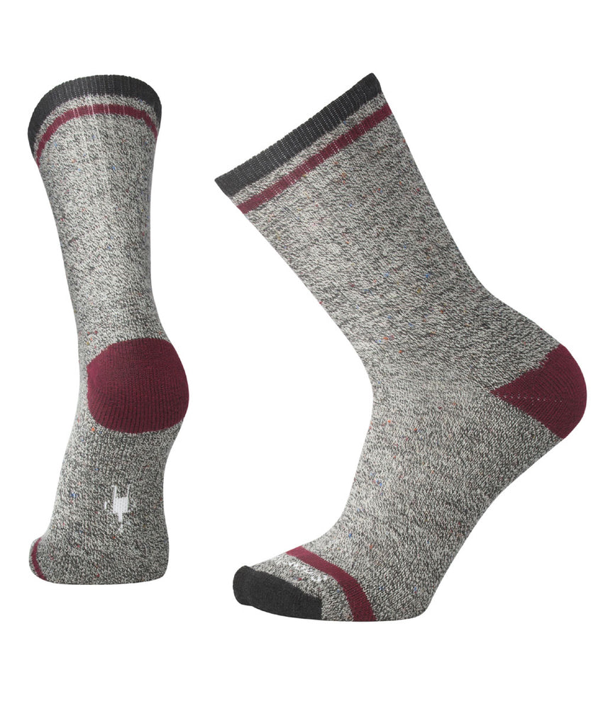 Smartwool Men's Larimer Crew Socks in Charcoal Heather-Tibetan Red at Dave's New York