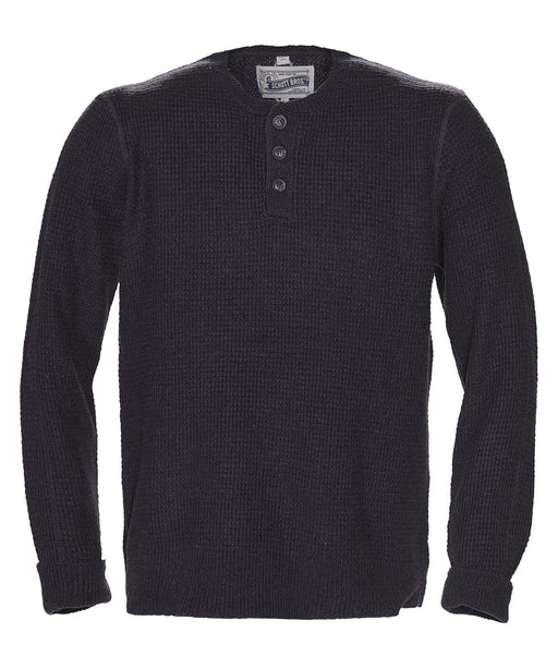 Schott NYC Wool Henley Sweater in Black at Dave's New York