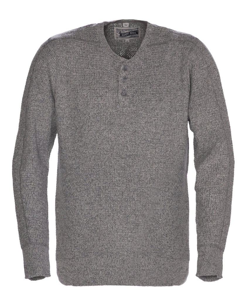 Schott NYC Wool Henley Sweater in Heather Grey at Dave's New York