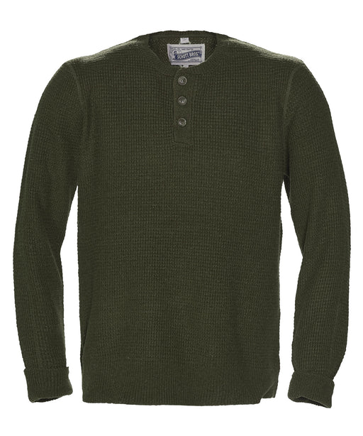 Schott NYC Wool Henley Sweater in Moss at Dave's New York