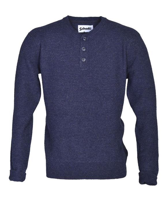 Schott NYC Wool Henley Sweater in Navy at Dave's New York