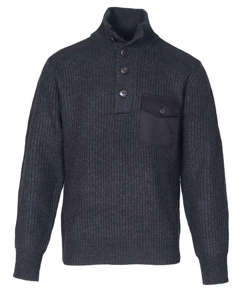 Schott NYC Men's Stand Up Neck Wool Sweater in Black at Dave's New York