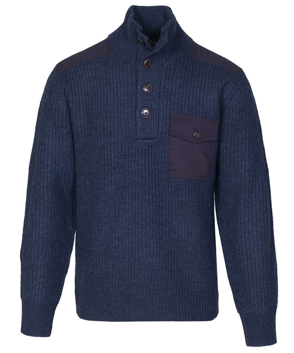 Schott NYC Men's Stand Up Neck Wool Sweater in Navy at Dave's New York
