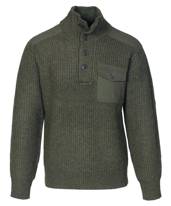 Schott NYC Men's Stand Up Neck Wool Sweater in Olive at Dave's New York