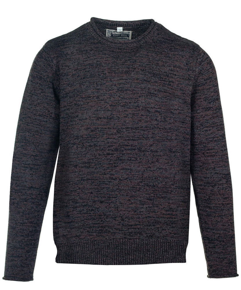 Schott NYC Cotton Crewneck Sweater in Black/Brown at Dave's New York