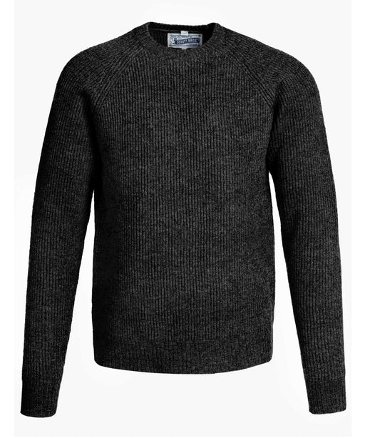 Schott NYC Men's Ribbed Wool Crewneck Sweater in Black at Dave's New York