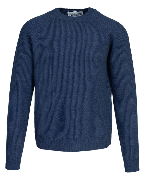 Schott NYC Men's Ribbed Wool Crewneck Sweater in Navy at Dave's New York