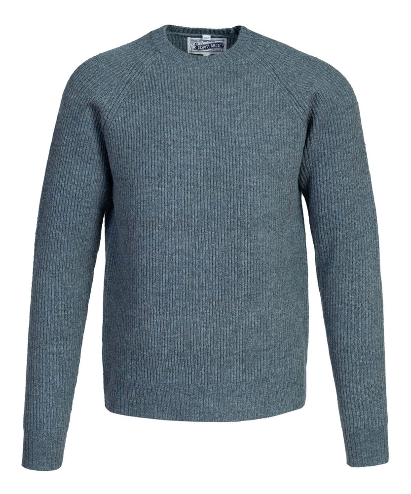 Schott NYC Men's Ribbed Knit Wool Crewneck Sweater in Sage at Dave's New York