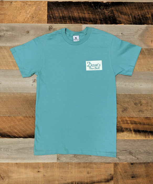 Dave's New York Vintage Logo Sticker Print Short Sleeve T-shirt - Sea Green